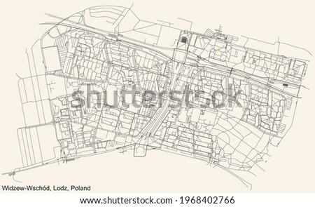 Black simple detailed street roads map on vintage beige background of the quarter Widzew-Wschód district of Lodz, Poland Zdjęcia stock ©