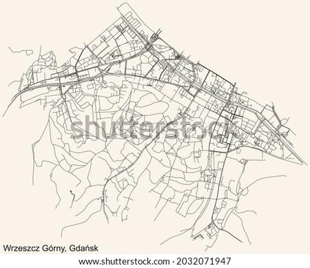 Black simple detailed street roads map on vintage beige background of the quarter Wrzeszcz Górny district of  Gdansk, Poland Zdjęcia stock ©