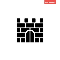 Black simple fortress brickwall icon, simple ancient block stonewall building place flat design infographic pictogram vector, app logo web button ui ux interface elements isolated on white background