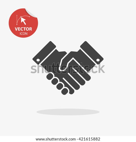 Black simple handshake icon isolated on white background. Vector partnership illustration. Background for business and finance.
