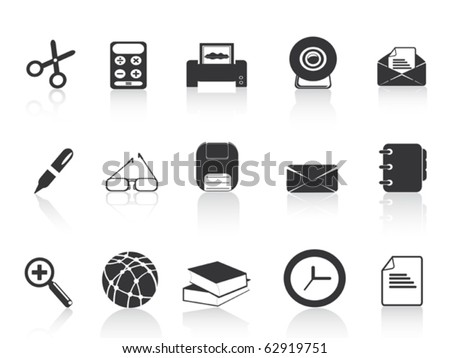 black simple office icons set