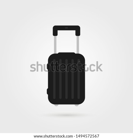 black simple travel suitcase icon. concept of summertime handbag for traveling or recreation and valise for sea cruise. flat style trend modern minimal summer time case logotype graphic design
