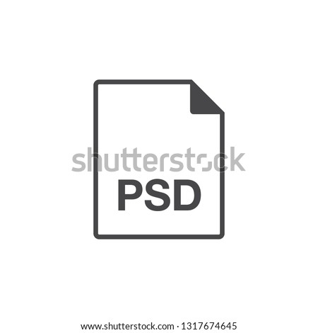 Black single line PSD document data file format icon concept. Simple modern flat design element for app, ui, ux, web, button, interface. Glyph graphic vector eps 10 isolated on white background