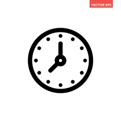 Black single round time clock icon, simple linear face dial flat design vector pictogram, infographic vector for app logo web website button ui ux interface elements isolated on white background