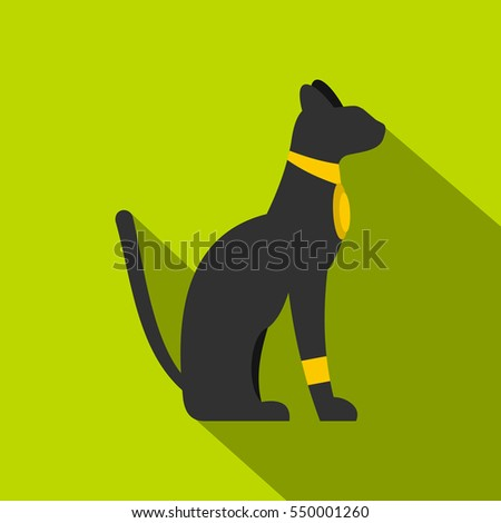 black sitting egyptian cat icon