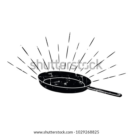 Black Sketched Cast-Iron Frying Pan.  Retro Style. Cookery Poster. Design Elements for Cooking Club, Cafe, Restaurant or Home Cooking. Vector illustration.