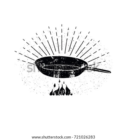 Black Sketched Cast-Iron Frying Pan. Stir Fry. Cooking Process Vector illustration. Kitchenware Sketch. Retro Style. Cookery Poster. Design Elements for Cooking Club, Cafe, Restaurant or Home Cooking.