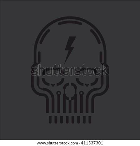 black skull vector design on
