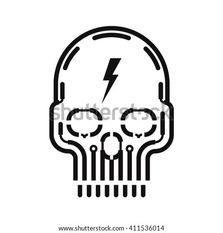 black skull vector design on
