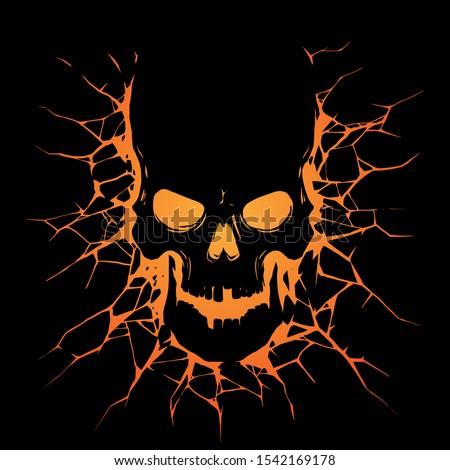 Black skull with crack hole Foto d'archivio ©