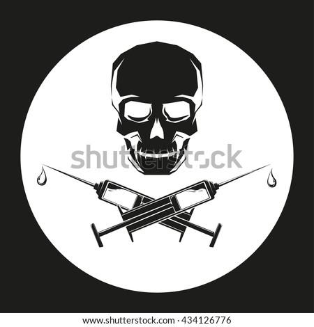 black skull with crossed