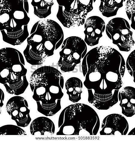 Black skulls seamless pattern. Lots of sculls with rusty grunge texture, graphic stylized black silhouettes, black and white vector background.