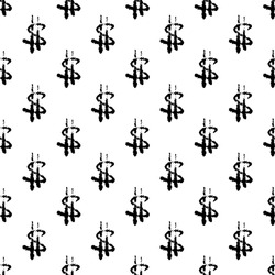 Black small ink outline dollar signs isolated on white background. Cute monochrome seamless pattern. Vector simple flat graphic hand drawn illustration. Texture.