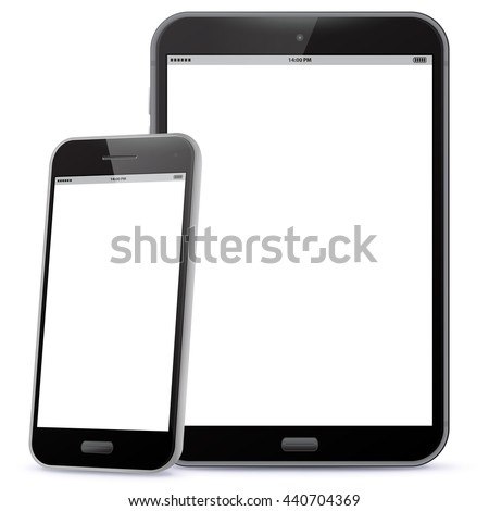 black smart phone and tablet
