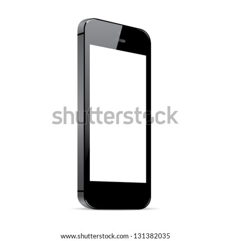 Black smart phone vector illustration isolated on white