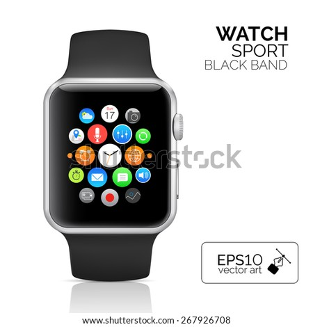 Black Smart watch isolated on white. Aluminum smart watch sport. Vector smart iwatch with watch app. Smart watch sport reflected on white background. Seventeen icons on iwatch screen.