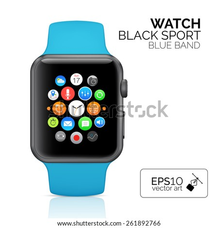 Black smart watch isolated. Vector Aluminum smart watch sport isolated. Smart watch sport reflected on white background. Seventeen icons on smart watch screen.