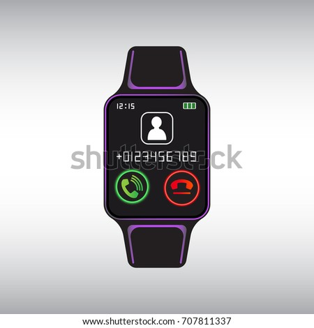 black smart watch with incoming