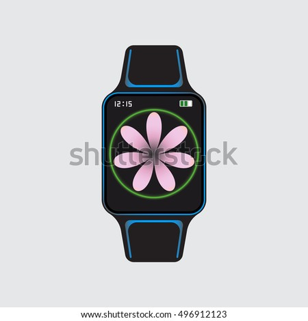 black smart watch with pink