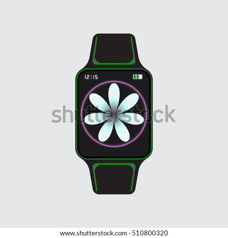 black smart watch with white