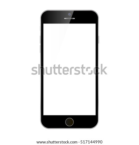 Black smartphone iphone with white screen vector eps10. Smartphone iphone mobile phone. Mobile phone iphone sign for web site.