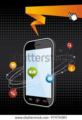 Black smartphone with app on black background. Mobile or Cell Phone device vector illustration.