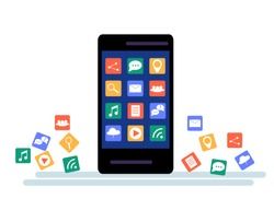 Black Smartphone with cloud of application icons and  Apps icons flying around them, isolated on White background. Flat Illustration