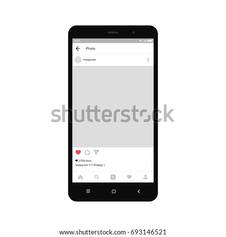 Black smartphone with insagram on screen. Modern design. Vector illustration. EPS10.