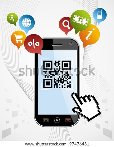 Black smartphone with QR code app on white background. EPS 8 vector, cleanly built with no open shapes or strokes. Grouped and ordered in layers for easy editing. - stock vector