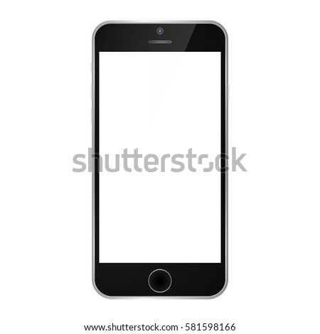 black smartphone with white screen. Iphone style smartphone