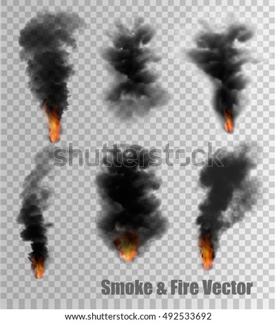 black smoke and fire vectors on