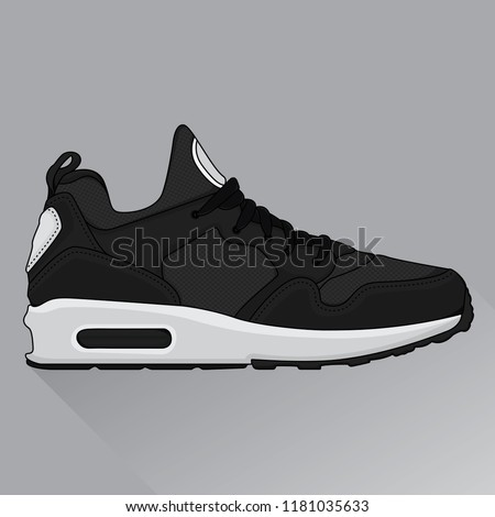 black sneakers design icons, vector EPS 10