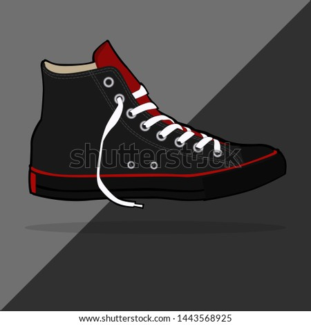 black sneakers. for sneakers lovers, it can be used as a wall display, poster and part of vector design. vector