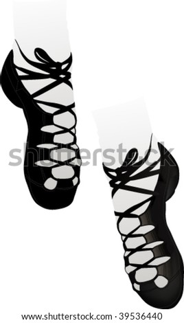 stock vector : Black soft Irish dancing shoes