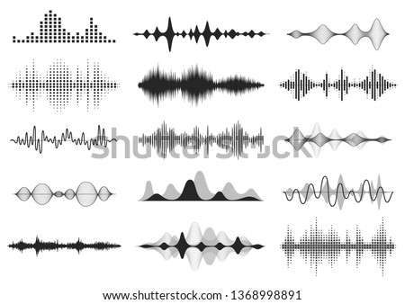 Black sound waves. Music audio frequency, voice line waveform, electronic radio signal, volume level symbol. Vector curve radio waves set