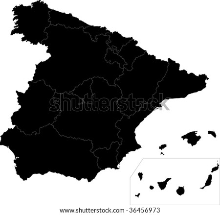 black spain map with region