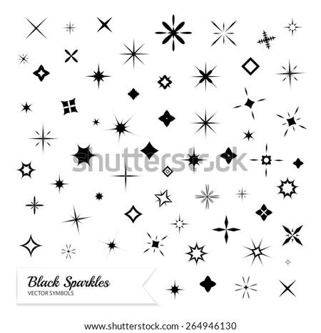 Black sparkles symbols. Vector set