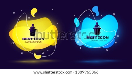 Black Speaker icon isolated. Orator speaking from tribune. Public speech. Person on podium. Set of liquid color abstract geometric shapes. Vector Illustration