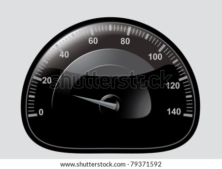 Black speedometer with light gray pointer, graduated 0 to 140