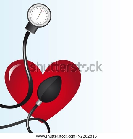 black sphygmomanometer over red heart vector illustration