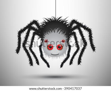 Stock Photo Black spider isolated.