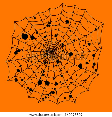 black spider web on an orange background for the holiday Halloween vector