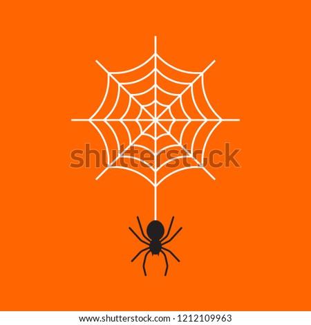 Black spider with cobweb on orange colored background.