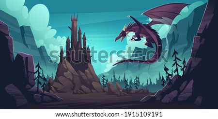 Black spooky castle and flying dragon in canyon with mountains and forest. Vector cartoon fantasy illustration with medieval palace with towers, creepy beast with wings, rocks and pine trees