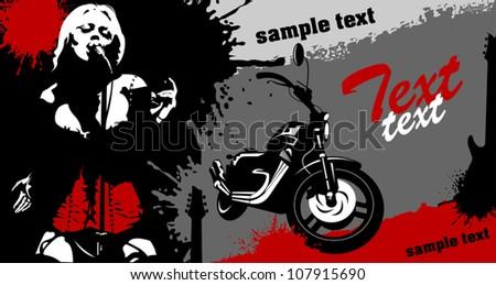 black sport bike on a red background (vector illustration)