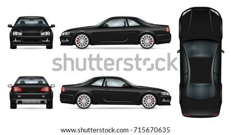 black sport car vector mock up