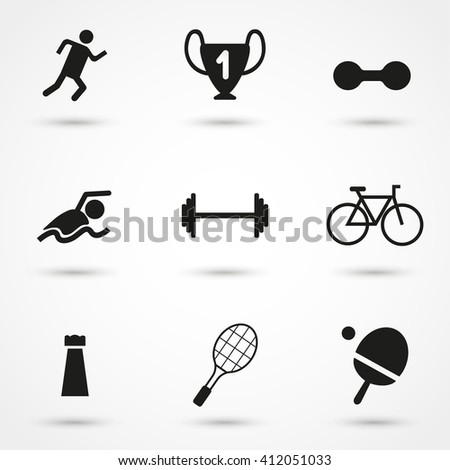 Black Sport icon set isolated on background. Modern simple flat sign. Business, internet concept. Trendy monochrome vector symbol for web site design or button to mobile app. Vector logo illustration