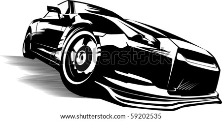 black sports car ready to start