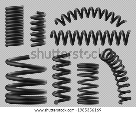 Black spring coils, flexible spiral metal wire. Vector realistic set of plastic or steel elastic springy coils different shapes for suspension or machine absorber isolated on transparent background