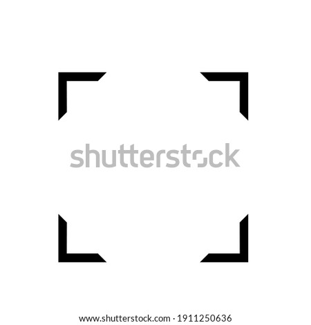 Black square corner at the corner of the picture.Focus icon, focus lens vector.Cute design for t shirt print, icon, logo, label, patch or sticker. Foto stock ©